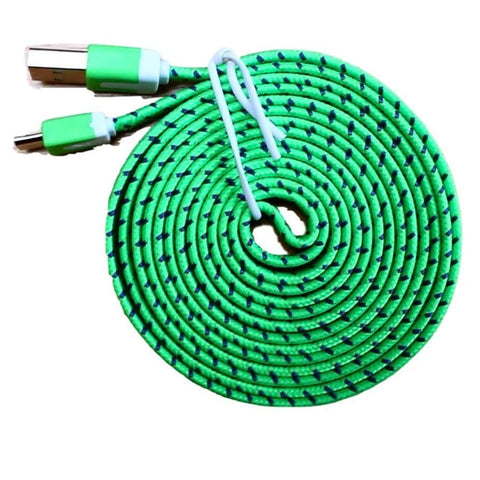 Micro USB Sync Data Charge Braided Flat Cable 6 Feet (6 FT) 2 Meters (2 M) - Green - Charging Cables