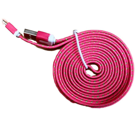 Micro USB Sync Data Charge Braided Flat Cable 6 Feet (6 FT) 2 Meters (2 M) - Hot Pink - Charging Cables