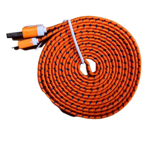 Micro USB Sync Data Charge Braided Flat Cable 6 Feet (6 FT) 2 Meters (2 M) - Orange - Charging Cables