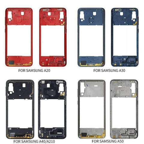 Middle Frame Bezel Housing Replacement For Samsung Galaxy A20 A30 A40/A210 A50 - Parts