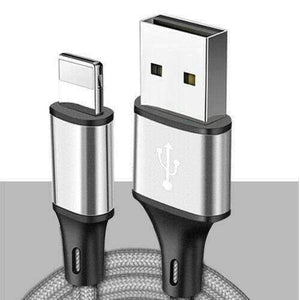 New 8pin Lightning USB Cable 3/6/10 Ft Charging Apple iPhone XS XR 8 7 Plus 6 S - 1 meter 3.3 ft / Silver - Accessories