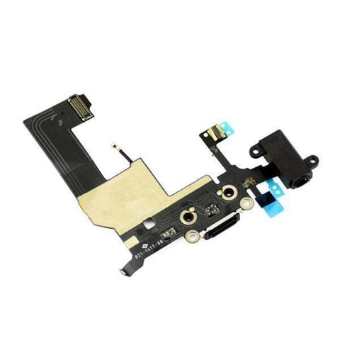 Image of New Black iPhone 5 5G Charging Port + Microphone + Audio Jack Flex Cable - Charge Ports