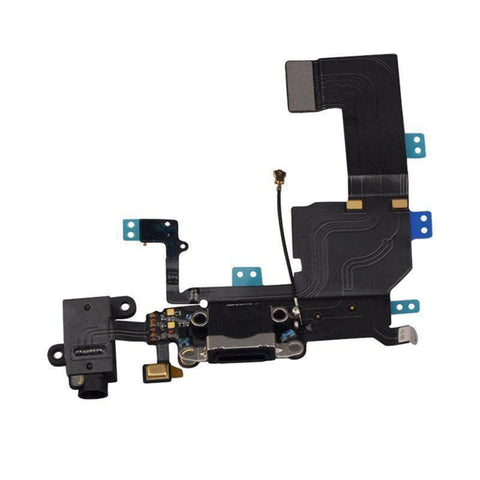 Image of New Black iPhone 5C Charging Port + Microphone + Headphone Audio Jack Flex Cable - Charge Ports