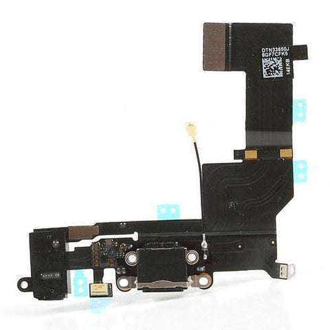 New Black iPhone 5S Charging Port + Microphone + Audio Jack Flex Cable - Charge Ports