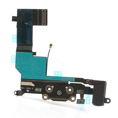 Image of New Black iPhone 5S Charging Port + Microphone + Audio Jack Flex Cable - Charge Ports