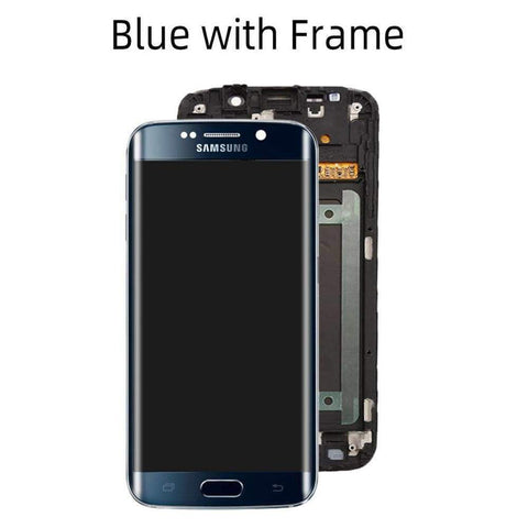 OLED LCD Touch Screen Digitizer for Samsung Galaxy S6 Edge G925W8 G925A G925F - Blue with Frame - LCDs & Digitizers