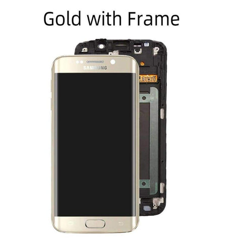 OLED LCD Touch Screen Digitizer for Samsung Galaxy S6 Edge G925W8 G925A G925F - Gold with Frame - LCDs & Digitizers