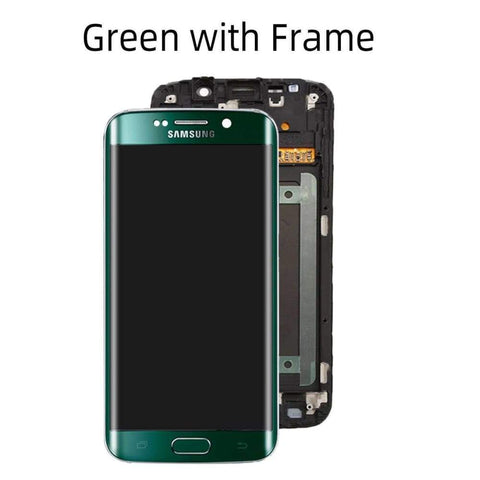 OLED LCD Touch Screen Digitizer for Samsung Galaxy S6 Edge G925W8 G925A G925F - Green with Frame - LCDs & Digitizers