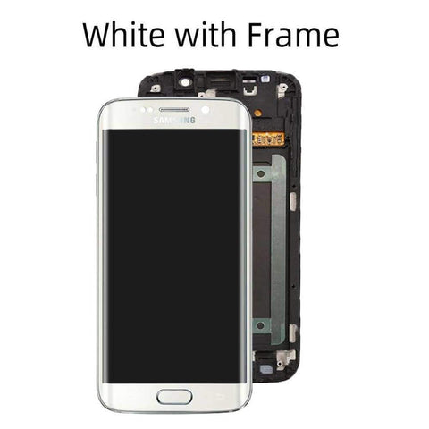 OLED LCD Touch Screen Digitizer for Samsung Galaxy S6 Edge G925W8 G925A G925F - White with Frame - LCDs & Digitizers