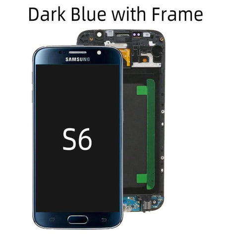 OLED LCD Touch Screen Digitizer for Samsung Galaxy S6 G920W8 G920A G920F - Dark Blue with Frame - LCDs & Digitizers