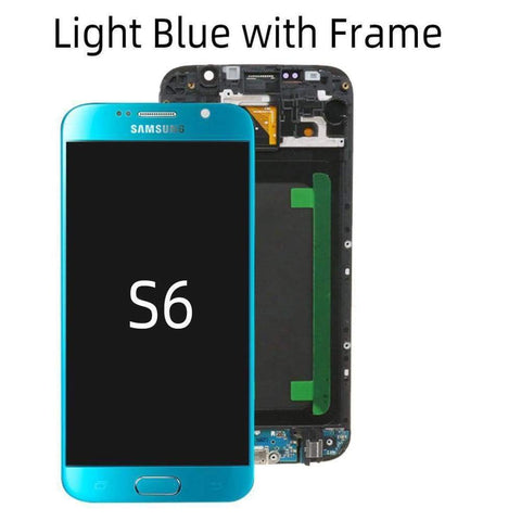 OLED LCD Touch Screen Digitizer for Samsung Galaxy S6 G920W8 G920A G920F - Ligh Blue with Frame - LCDs & Digitizers