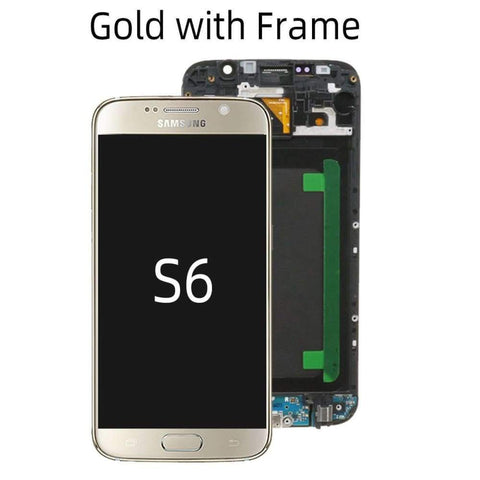 OLED LCD Touch Screen Digitizer for Samsung Galaxy S6 G920W8 G920A G920F - Gold with Frame - LCDs & Digitizers