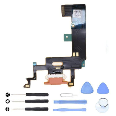 Image of Orange Charging Charge Port Lightning Connector for iPhone XR A1984 A2106 A2108 - With Tool Kit