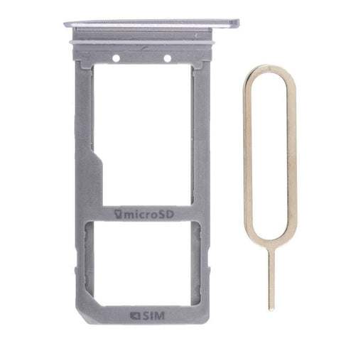 Image of Original Samsung Galaxy S7 Edge SIM Card Tray Holder with Eject Tool - Silver - SIM Card Tray
