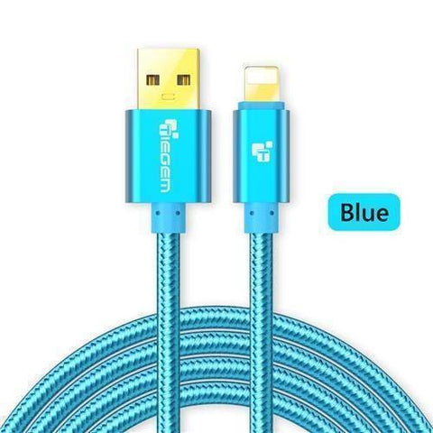 Image of Original TIEGEM Heavy Duty Fast Charging 8 Pin USB Lightning Cable - Blue / 1M (3ft) - Charging Cables
