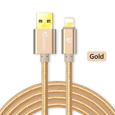 Image of Original TIEGEM Heavy Duty Fast Charging 8 Pin USB Lightning Cable - Gold / 1M (3ft) - Charging Cables
