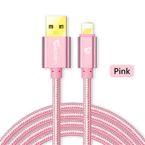 Image of Original TIEGEM Heavy Duty Fast Charging 8 Pin USB Lightning Cable - Pink / 1M (3ft) - Charging Cables