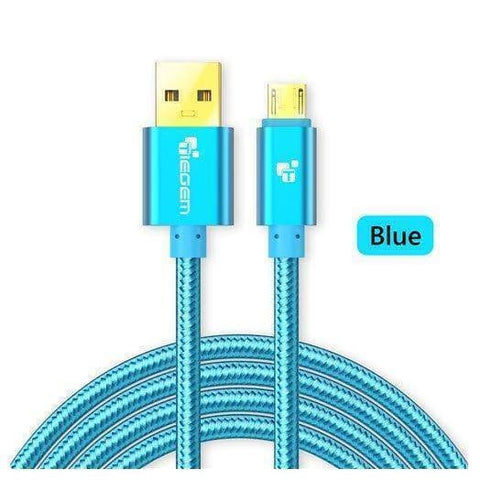 Original TIEGEM Heavy Duty Fast Charging Micro USB Charger Cable 1M 2M 3M - Blue / 1M (3ft) - Charging Cables