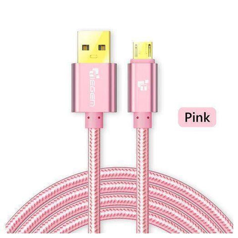 Original TIEGEM Heavy Duty Fast Charging Micro USB Charger Cable 1M 2M 3M - Pink / 1M (3ft) - Charging Cables
