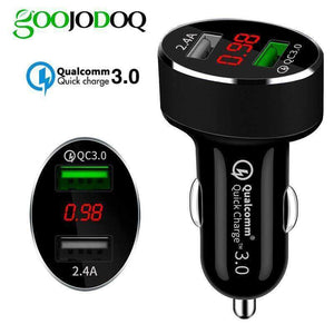QC 3.0 Car Charger 2 Ports Dual USB Fast Quick Charger 3.1A LED Voltage Monitoring - Accessories