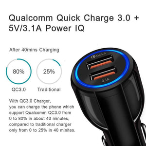 QC 3.0 Car Charger Quick Charge Dual Car Charger Fast Charging Adapter Mini USB - Accessories
