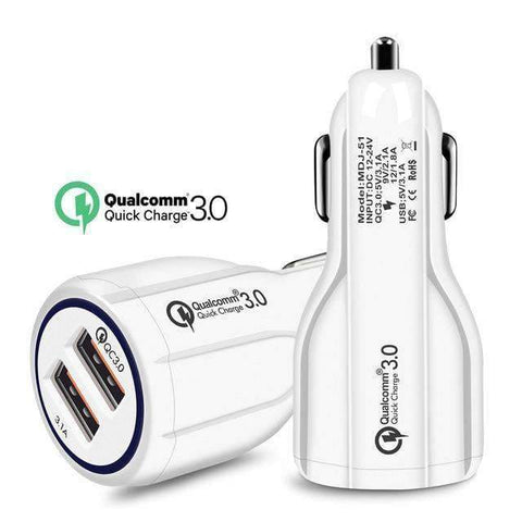 Image of QC 3.0 Car Charger Quick Charge Dual Car Charger Fast Charging Adapter Mini USB - White - Accessories