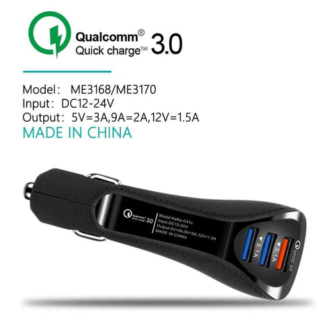 QC Quick Charge 3.0 Dual Car Charger Adapter Auto Mobile Phone Charger - Accessories