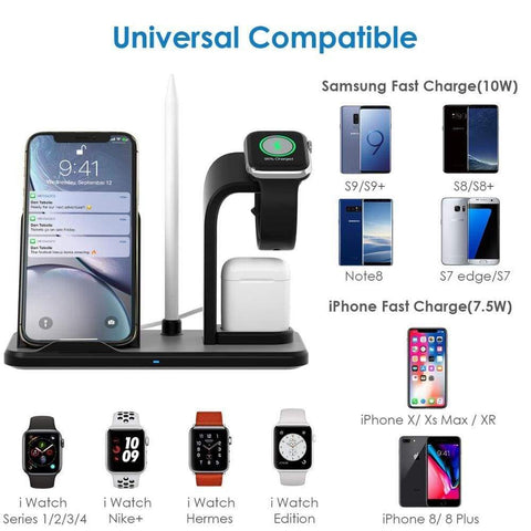 Qi Fast Charging 3 in 1 10W Wireless Charger for iPhone AirPods Apple Watch - Wireless Chargers