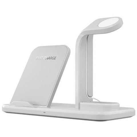 Qi Fast Charging 3 in 1 10W Wireless Charger for iPhone AirPods Apple Watch - White - Wireless Chargers