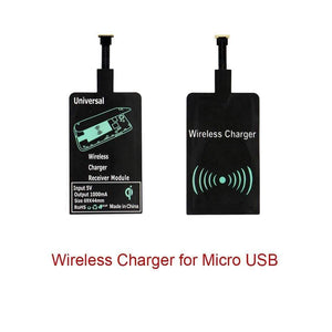 Qi Wireless Charger Adapter Charging Receiver Type-C Micro USB iPhone - Wireless Chargers