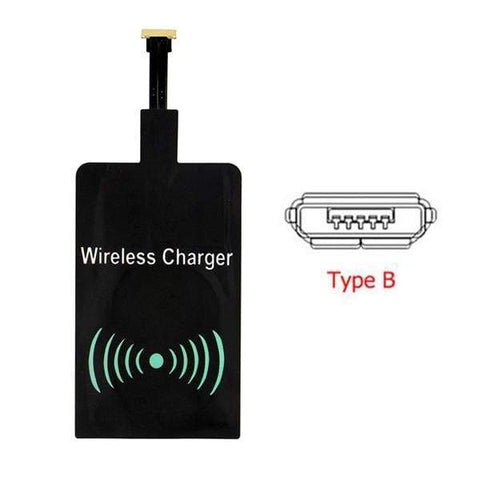 Qi Wireless Charger Charging Pad + Receiver Kit + Adapter For iPhone and Android - receiver Type B - Wireless Chargers