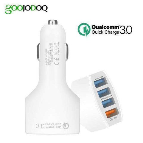 Quick Charge 3.0 Car Charger USB C Power Delivery PD Port 3.5A Port - 4 port white - Accessories