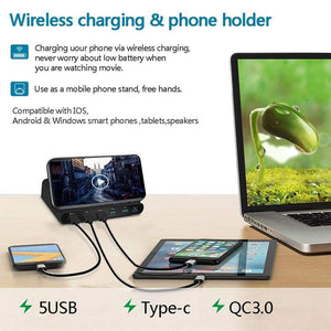 Quick Charge 3.0 USB Qi Fast Wireless Charging Dock Station iPhone Samsung - Wireless Chargers