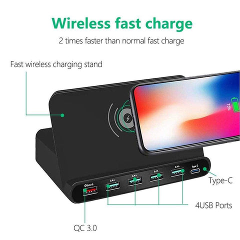 Image of Quick Charge 3.0 USB Qi Fast Wireless Charging Dock Station iPhone Samsung - Wireless Chargers