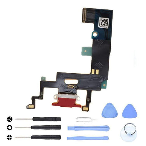 Image of Red Charging Charge Port Lightning Connector for iPhone XR A1984 A2106 A2108 - With Tool Kit