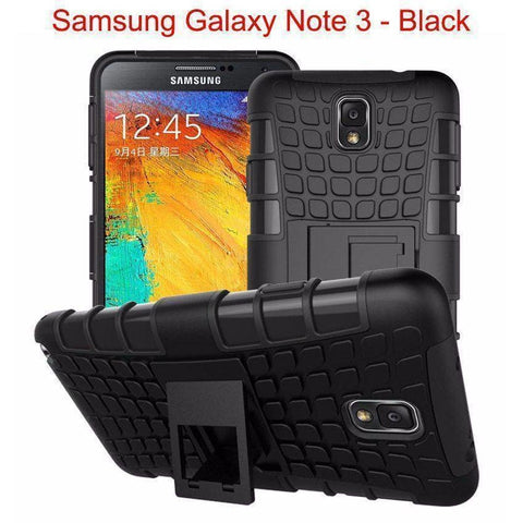 Image of Samsung Galaxy Note 3 Heavy Duty Armor Phone Case Cover with Stand - Black - Cases