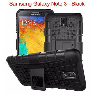 Samsung Galaxy Note 3 Heavy Duty Armor Phone Case Cover with Stand - Black - Cases
