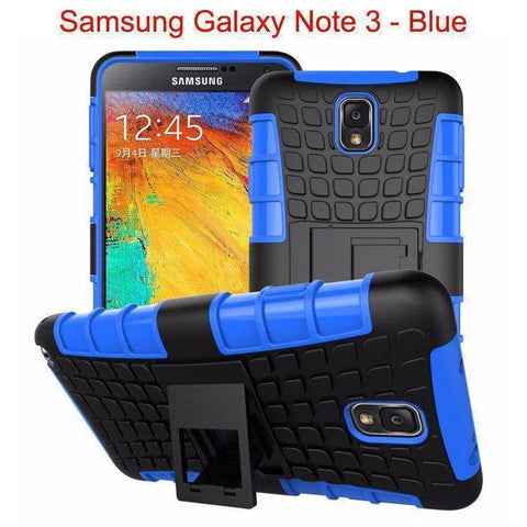 Image of Samsung Galaxy Note 3 Heavy Duty Armor Phone Case Cover with Stand - Blue - Cases