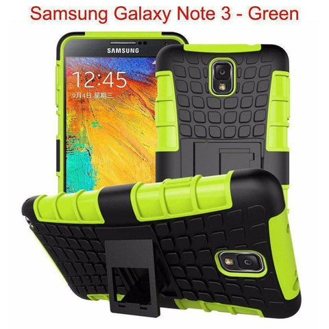 Image of Samsung Galaxy Note 3 Heavy Duty Armor Phone Case Cover with Stand - Green - Cases