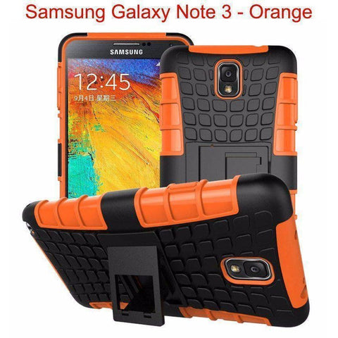 Image of Samsung Galaxy Note 3 Heavy Duty Armor Phone Case Cover with Stand - Orange - Cases