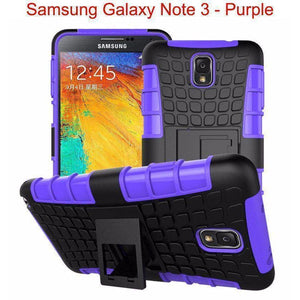 Samsung Galaxy Note 3 Heavy Duty Armor Phone Case Cover with Stand - Purple - Cases