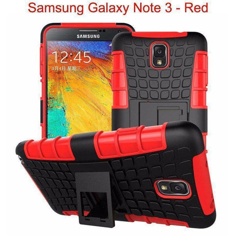 Image of Samsung Galaxy Note 3 Heavy Duty Armor Phone Case Cover with Stand - Red - Cases