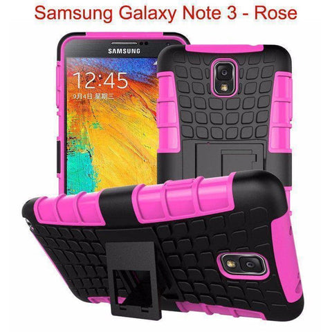 Image of Samsung Galaxy Note 3 Heavy Duty Armor Phone Case Cover with Stand - Rose - Cases