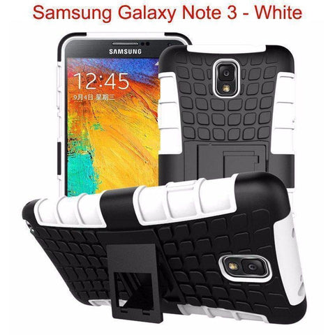 Image of Samsung Galaxy Note 3 Heavy Duty Armor Phone Case Cover with Stand - White - Cases