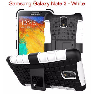 Samsung Galaxy Note 3 Heavy Duty Armor Phone Case Cover with Stand - White - Cases