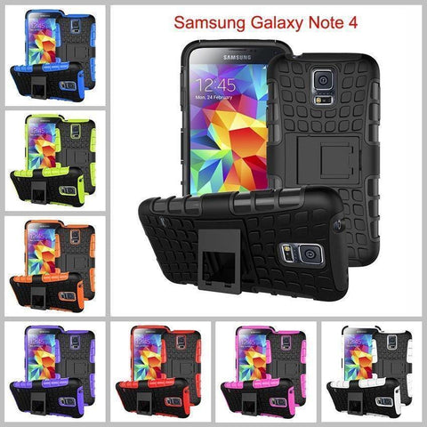 Image of Samsung Galaxy Note 4 Heavy Duty Armor Phone Case Cover with Stand - Cases