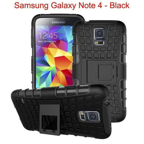 Samsung Galaxy Note 4 Heavy Duty Armor Phone Case Cover with Stand - Black - Cases
