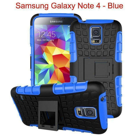 Image of Samsung Galaxy Note 4 Heavy Duty Armor Phone Case Cover with Stand - Blue - Cases