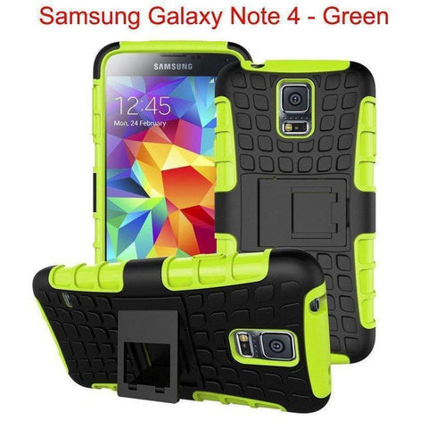 Image of Samsung Galaxy Note 4 Heavy Duty Armor Phone Case Cover with Stand - Green - Cases