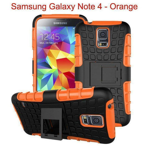 Samsung Galaxy Note 4 Heavy Duty Armor Phone Case Cover with Stand - Orange - Cases